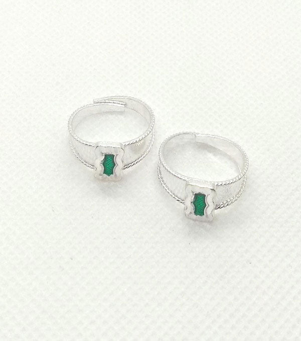 Silver Green Stones Toe Rings with Adjustable for Women's