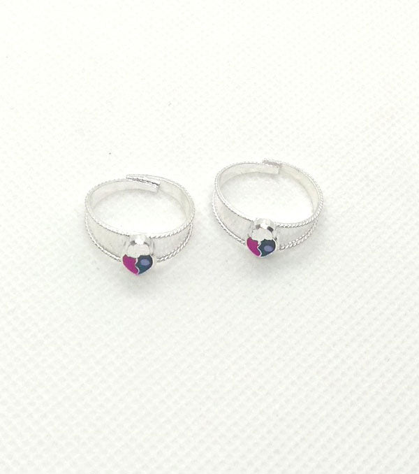 Silver Purple Stones Toe Rings with beautiful design