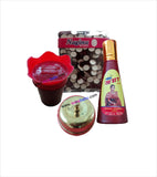 Red Alta Red Sindoor Golden Sindoor Kiya and Maroon Bindi Box Combo Set