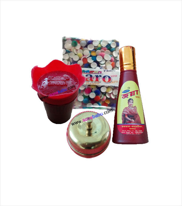 Red Sindoor Red Alta  Golden Sindoor Kiya and Multi Coulour Bindi Combo Set