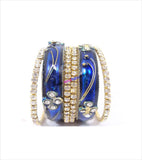 Blue stone beaded bangles set of 6