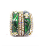 Green coloured stone beaded bangles set of 6