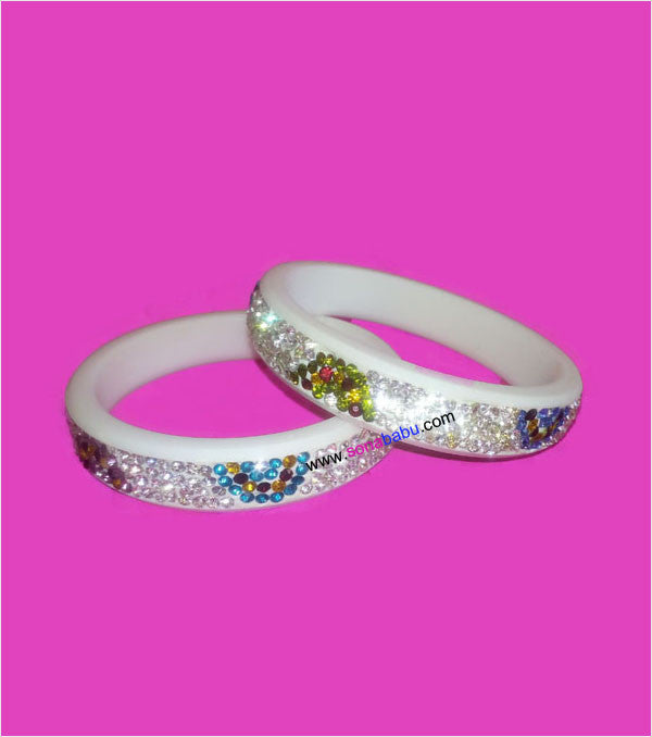 White stone beaded bangles set of 2