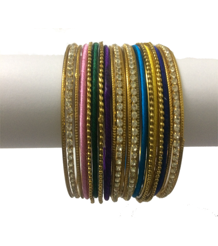 Thread Bangles with fancy look having metal with silver stones