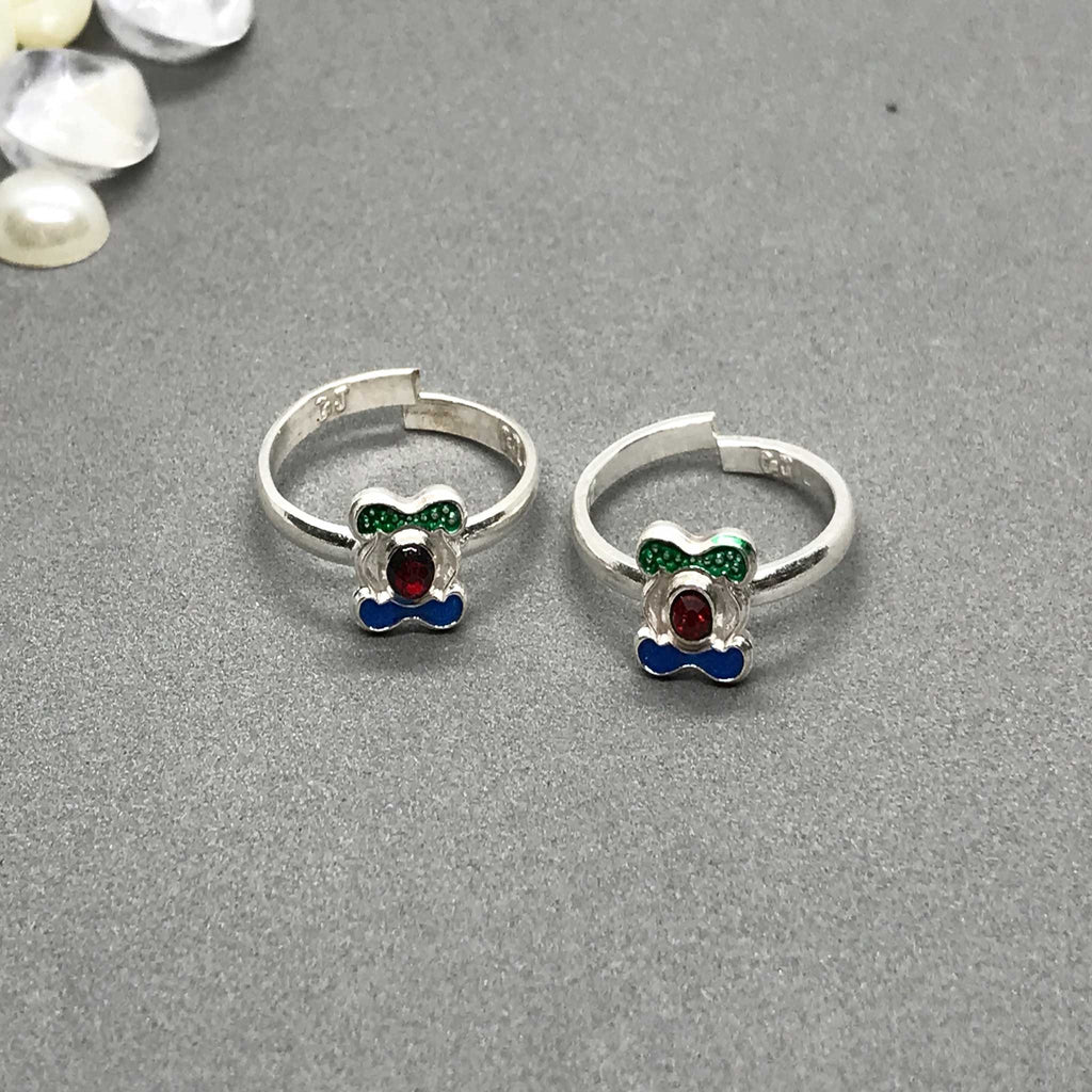 Silver Toe Rings with beautiful coloured design