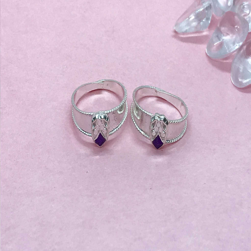 Silver Toe Rings with colored stones and design