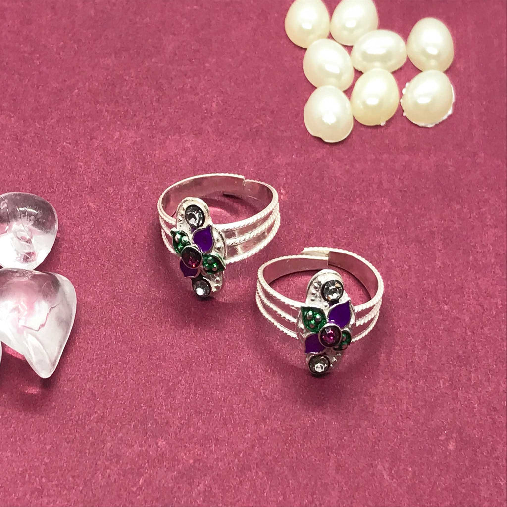 Toe Rings with beautiful design and colors with stone