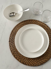 Sweese Porcelain Fluted Dinner Plates 10 Inch White Set Of 6 Sweese