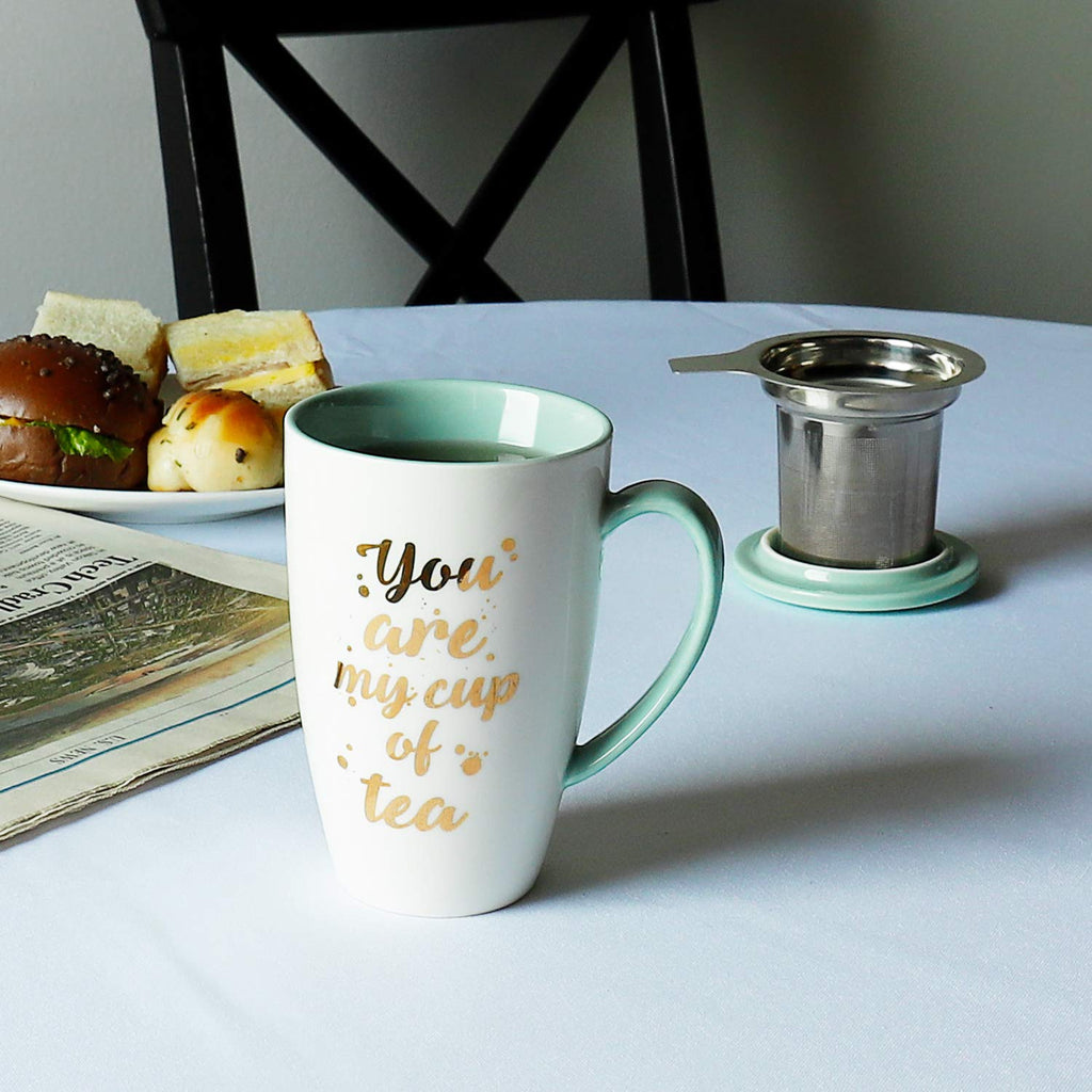 Porcelain Tea Mug with Infuser and Lid - You Are My Cup of Tea