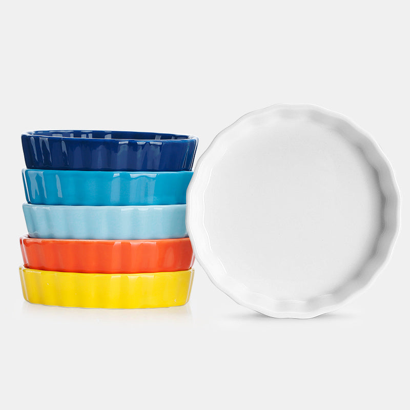 Porcelain Round Ramekins, Hot Assorted Colors, Set of 6