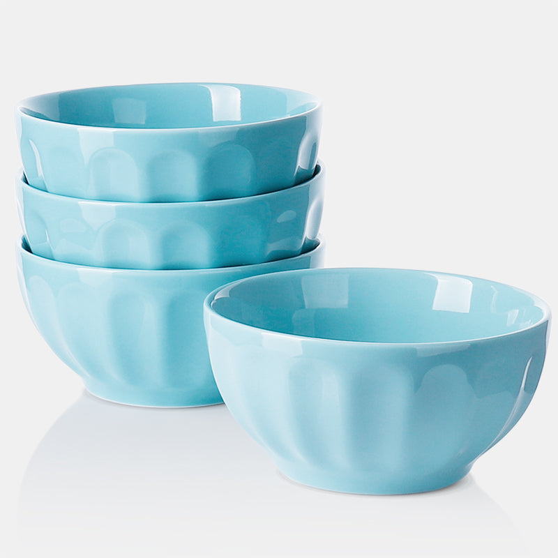 Porcelain Fluted Bowls 26 Ounce, Turquoise