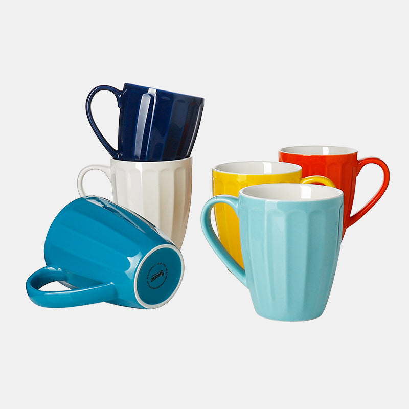 Porcelain Fluted Mugs 14 Ounce, Hot Assorted Colors