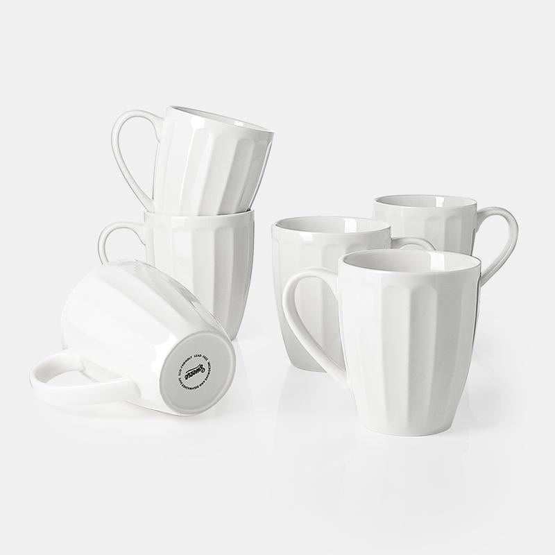 Porcelain Fluted Mugs, 14 Ounce
