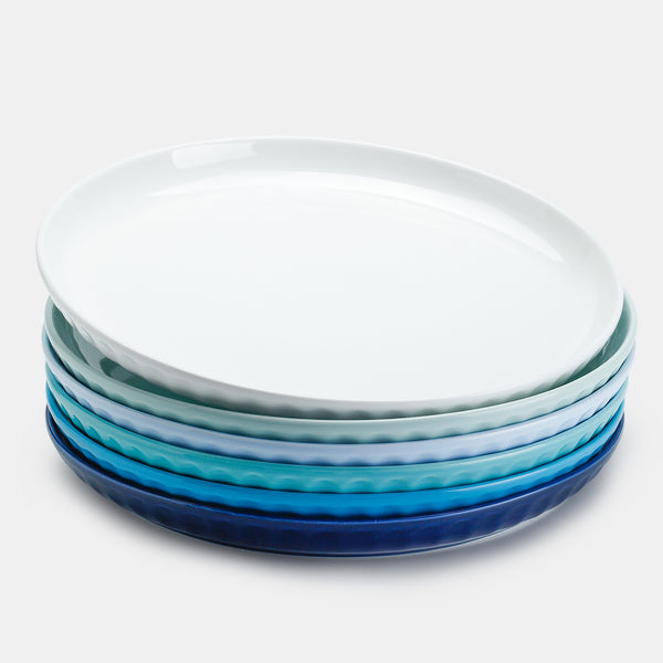 Porcelain Fluted Dinner Plates - 10 Inch - Set of 6, Cool Assorted Colors