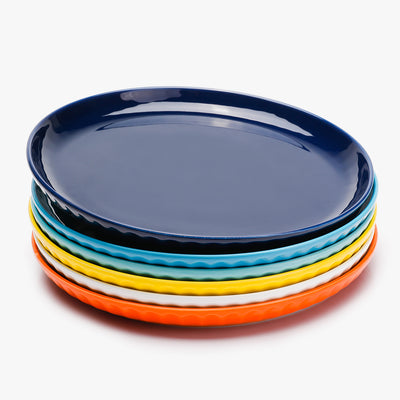 Porcelain Fluted Dinner Plates - 10 Inch - Set of 6, Hot Assorted Colors