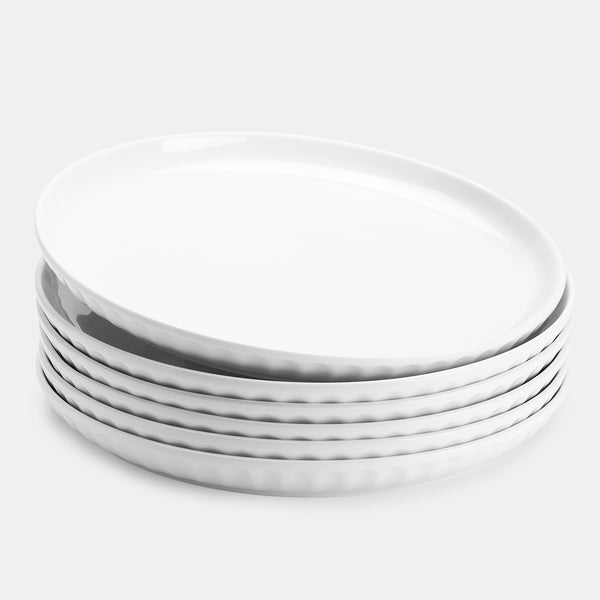 Porcelain Fluted Dinner Plates - 10 Inch - Set of 6, White