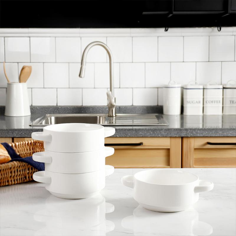 Porcelain Bowls with Handles 20 Ounce, White, Set of 4