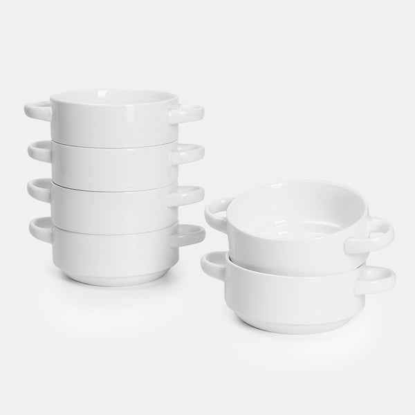 Porcelain Bowls with Handles 20 Ounce, White, Set of 6