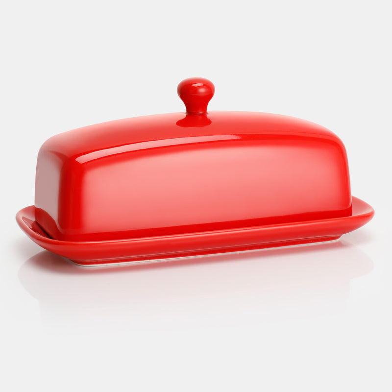 Porcelain Butter Dish with Lid, Red