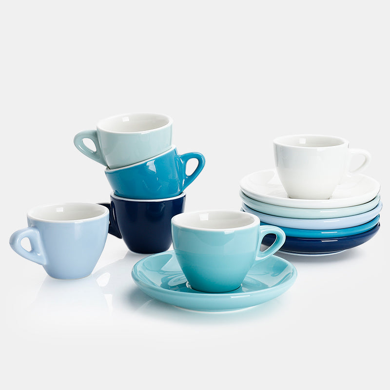 Porcelain Espresso Cups with Saucers 2 Ounce, Cold Assorted Colors