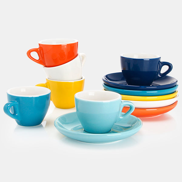Porcelain Espresso Cups with Saucers 2 Ounce, Hot Assorted Colors