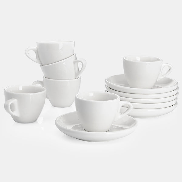 Porcelain Espresso Cups with Saucers 2 Ounce, White