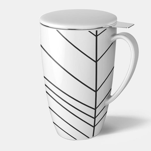 Patterned Porcelain Tea Mug with Infuser