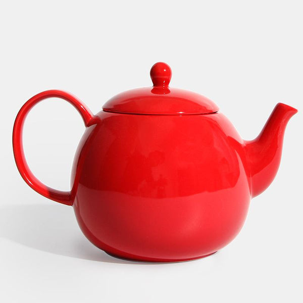 Porcelain Teapot, Red, 40 Ounce