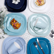 Porcelain Square Dinner Plates 10 Inch, Cool Assorted Colors