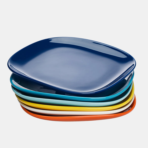 Porcelain Square Dinner Plates 10 Inch, Hot Assorted Colors