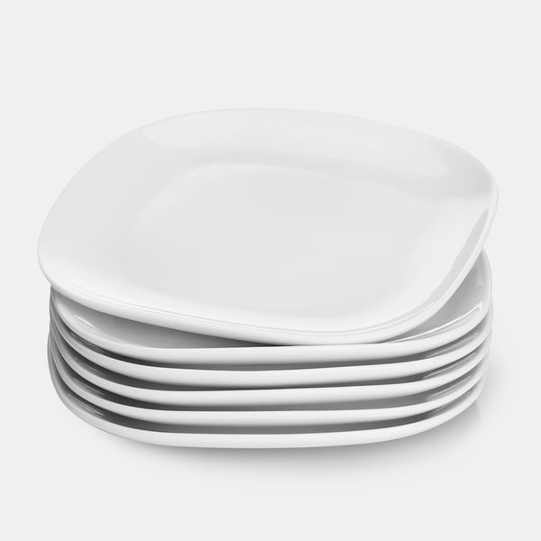 Porcelain Square Dinner Plates 10 Inch, White