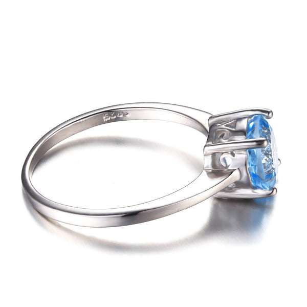 Round 1.6ct Natural Sky Blue Topaz Wedding Ring