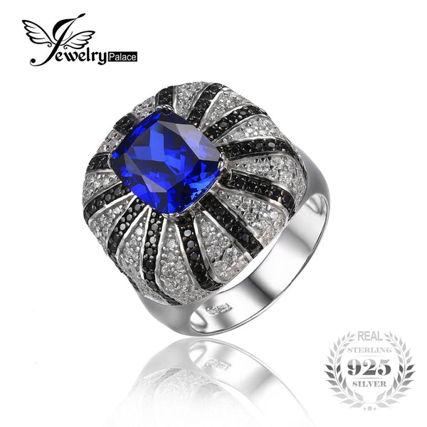 Luxury Created Sapphire Natural Black Spinel Cocktail Wedding Ring