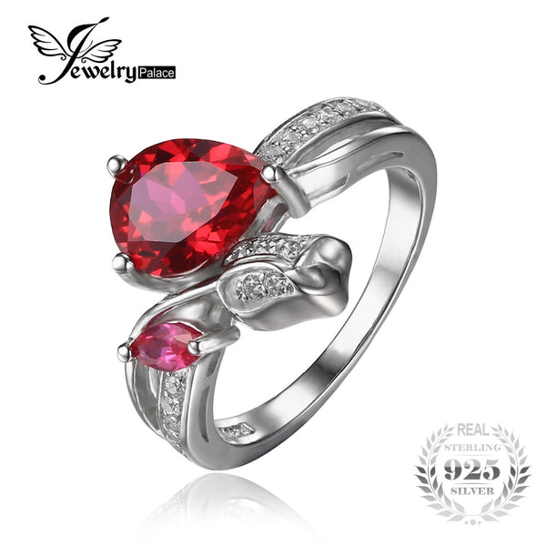 Flower Rose Created Red Ruby Love Wedding Ring