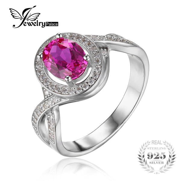Classic Oval Created Pink Sapphire Halo Wedding Ring