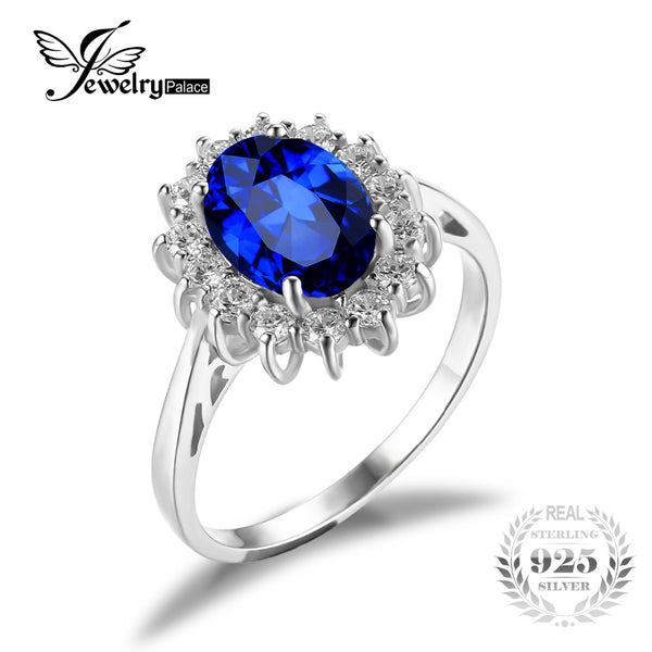 Princess Created Blue Sapphire Wedding Ring