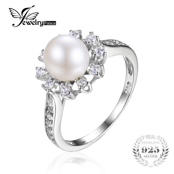 Snowflake Cultured Pearl Halo Wedding Ring