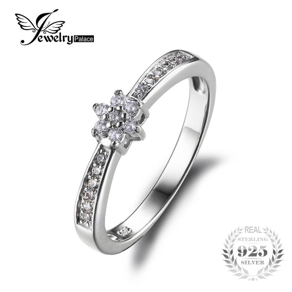 Sterling Silver Classic Flower Style Wedding Ring