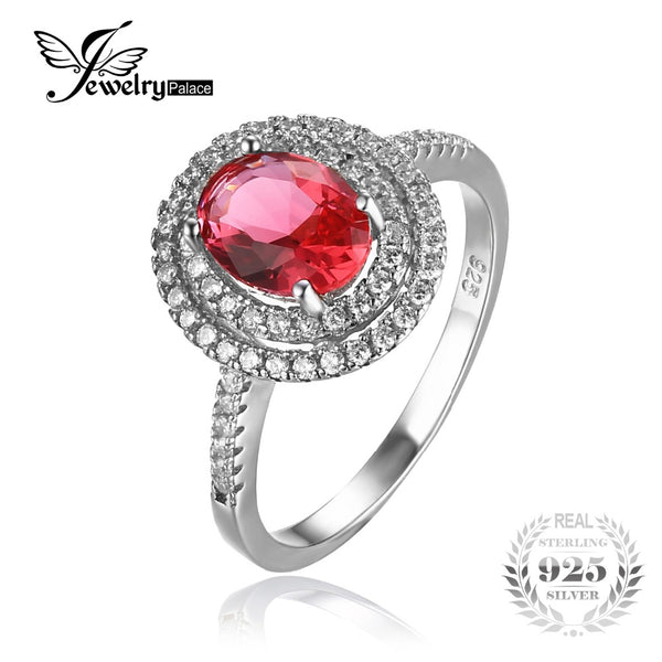 Classic Pink Created Sapphire Wedding Ring