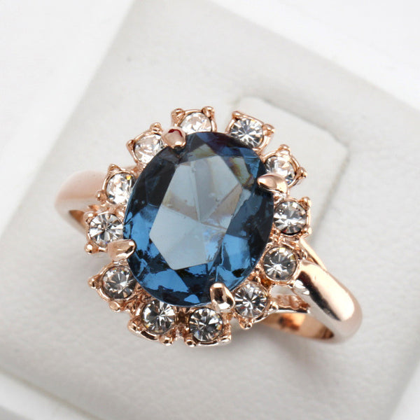 Rose Gold Sapphire Blue