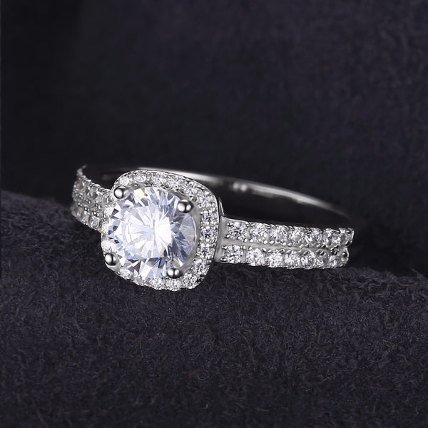 Halo 1.1ct Round Cubic Zirconia Wedding Ring