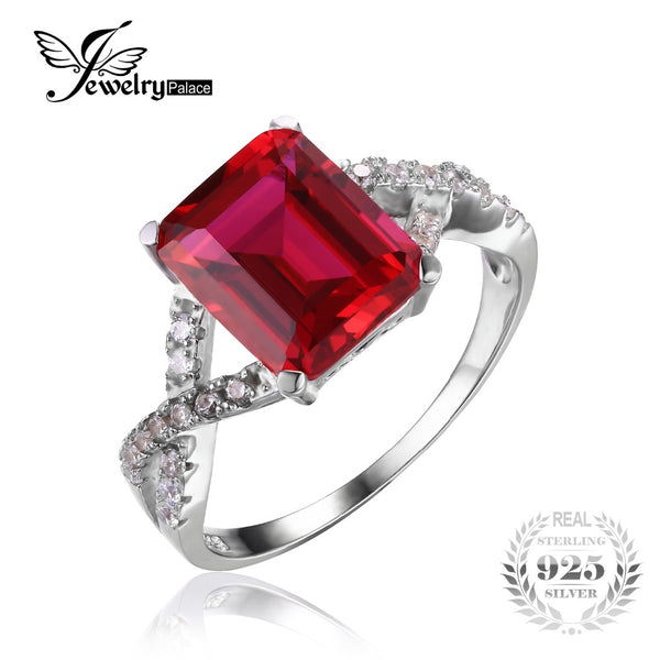 4.6ct  Red Created Ruby Wedding Ring