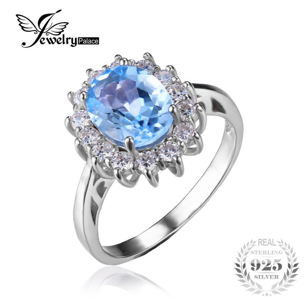 Blue Topaz Halo Wedding Ring