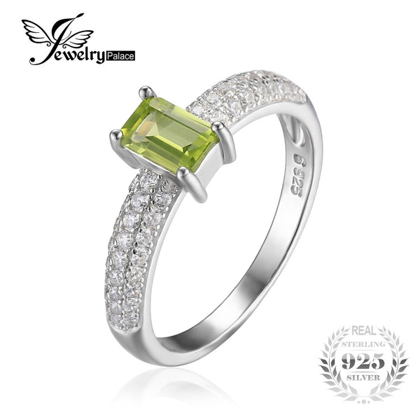 Classic Emerald Cut Natural Peridot Wedding Ring