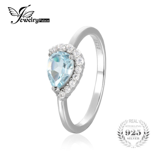 Water Drop Natural Sky Blue Topaz Wedding Ring
