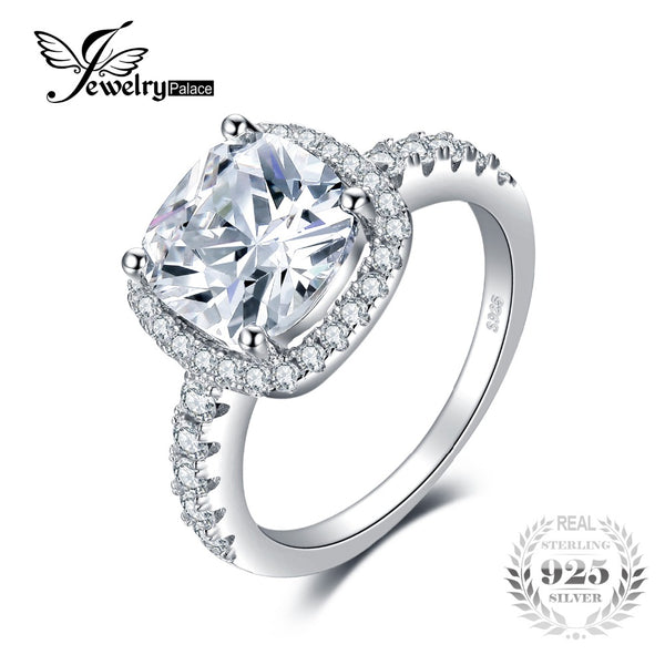 Cushion Cut 3ct Halo Solitaire Wedding Ring