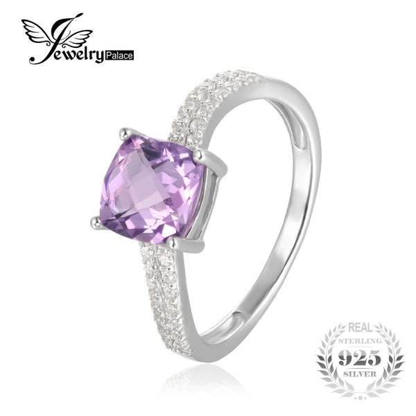 Classic Lattice Square Natural Amethyst Wedding Ring