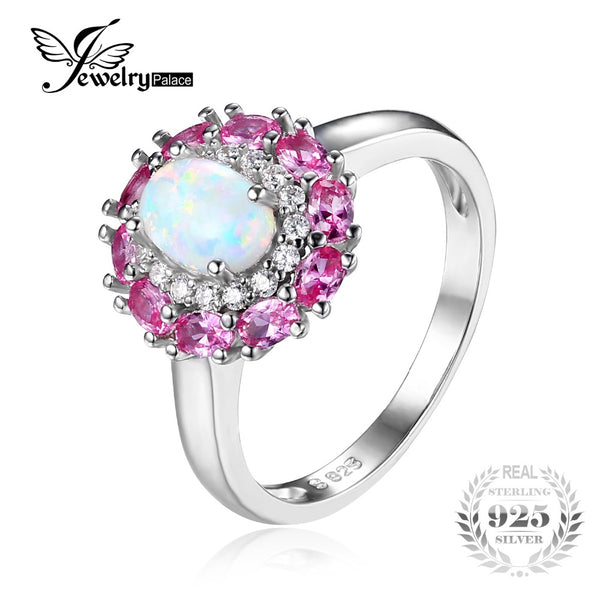 Created Opal & Pink Sapphire Halo Wedding Ring