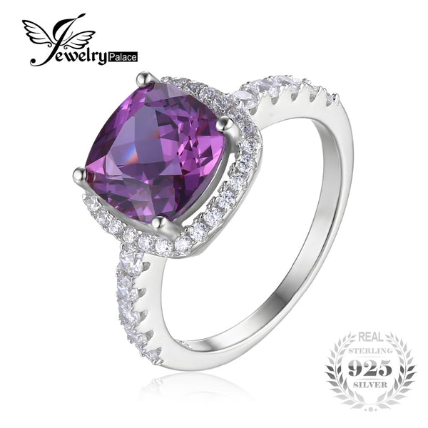 Cushion Cut Created Alexandrite Sapphire Wedding Ring