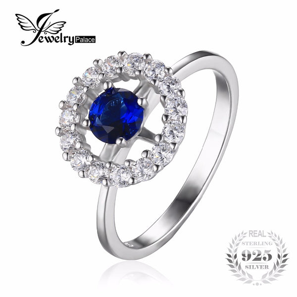 Round Created Sapphire Halo Wedding Ring